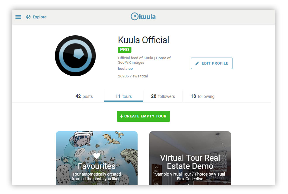 Kuula Virtual Tours - Add empty tour / collection